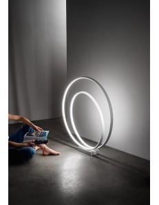 Ritmo piantana LED moderna 96w bianca doppio anello