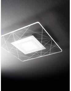 Tela plafoniera LED moderna 21w quadrata incisione lineare 38x38