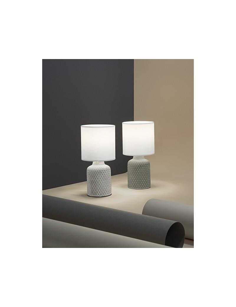 Provenza lumetto abat jour ceramica decoro con paralume tessuto vari colori