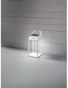 Lanterna LED solare Usb ricaricabile batteria litio alluminio per esterno e interno bianca Perenz