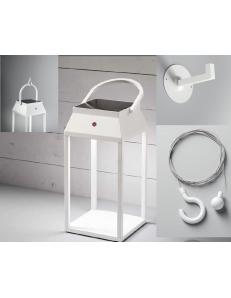 Kit Lanterna LED solare Usb ricaricabile batteria litio alluminio per esterno e interno bianca Perenz