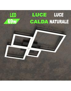 Four squares nera plafoniera Led 69w 3000k 4000k piccola quadrata