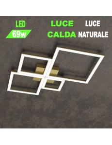 Four squares oro plafoniera Led 69w 3000k 4000k piccola quadrata