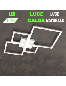 Four squares bianca plafoniera Led 88w 3000k 4000k media quadrata