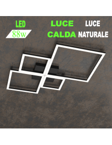 Four squares nera plafoniera Led 88w 3000k 4000k media quadrata