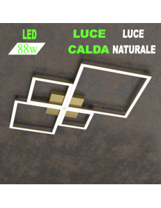 Four squares oro plafoniera Led 88w 3000k 4000k media quadrata