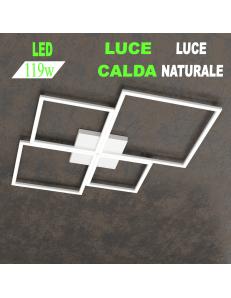 Four squares bianca plafoniera Led 119w 3000k 4000k grande quadrata