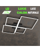 Four squares nera plafoniera Led 119w 3000k 4000k grande quadrata