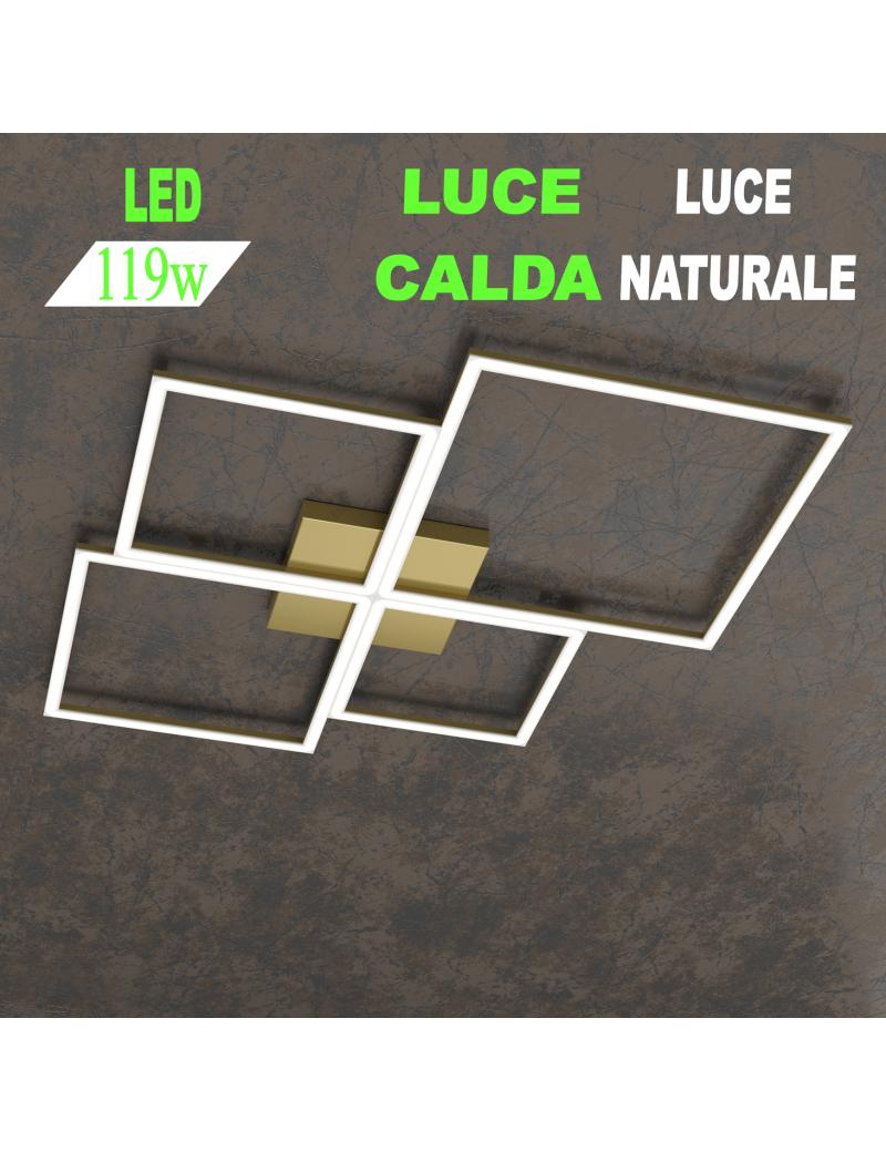 Four squares oro plafoniera Led 119w 3000k 4000k grande quadrata