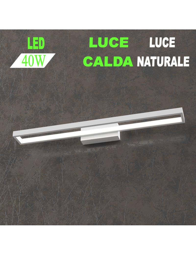 Four squares applique bianca lampada led 40w luce calda e naturale