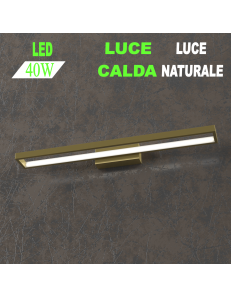 Four squares applique oro lampada led 40w luce calda e naturale