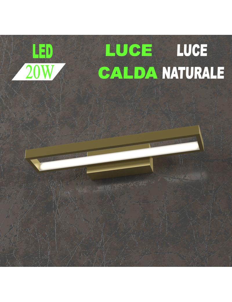 Four squares applique oro piccola led 20w 3000k 4000k