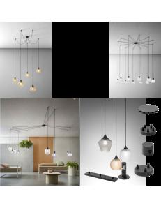 Componi e personalizza la tua lampada decentrata da 3 a 12 luci diffusori vetro Trasparente Ambra Fume