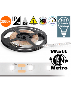 Stricia LED 19.2w 3000k bobina dimmerabile IP20 adesiva flessibile 140 led metro
