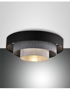 Brava plafoniera moderna Ø60 rotonda tessuto sfumature grigio