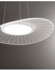Vela grande lampadario soggiorno LED 40w dimmerabile bianco e trasparente