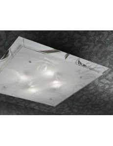 IRIS plafoniera 3 luci vetro e specchio serigrafato