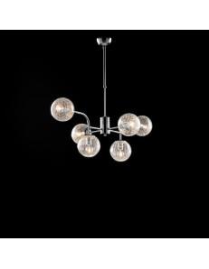 Ikarus lampadario camera minimalista cromo e sfere trasparenti