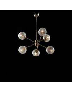 Tresor lampadario camera minimal oro e sfere trasparenti
