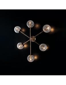 Tresor plafoniera camera minimal oro e sfere trasparenti