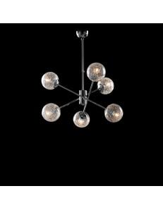 Tresor lampadario camera minimal cromo e sfere trasparenti
