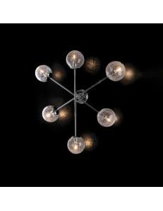 Tresor plafoniera camera minimal cromo e sfere trasparenti