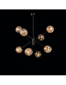 Tresor lampadario soggiorno minimalista nero e sfere trasparenti