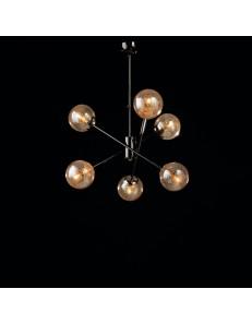 Tresor lampadario camera minimal nero e sfere trasparenti