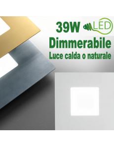 Bilde media plafoniera Led quadrata 39w dimmerabile bianco oro o piombo
