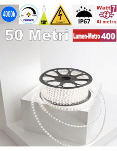 Stricia LED 7w 4000k bobina 50mt dimmerabile IP67 flessibile 60 led metro outdoor