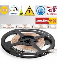 Stricia LED 14,4w 3000k bobina 5mt dimmerabile IP20 adesiva flessibile 72 led metro