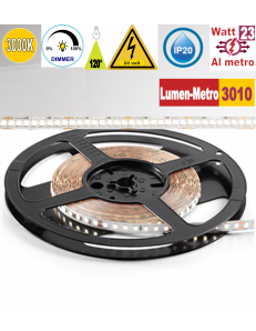 Stricia LED 23w 3000k bobina 5mt dimmerabile IP20 adesiva flessibile 224 led metro