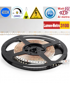 Stricia LED 23w 4000k bobina 5mt dimmerabile IP20 adesiva flessibile 224 led metro