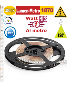 Stricia LED 13w 3000k bobina 5mt dimmerabile IP20 adesiva flessibile 128 led metro