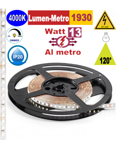 Stricia LED 13w 4000k bobina 5mt dimmerabile IP20 adesiva flessibile 128 led metro