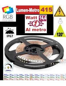 Stricia LED 14,4w RGB bobina 5mt dimmerabile IP67 adesiva flessibile 60 led metro