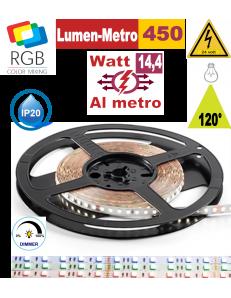 Stricia LED 14,4w RGB bobina 5mt dimmerabile IP20 adesiva flessibile 60 led metro