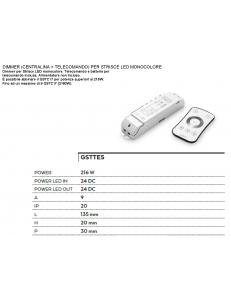 Centralina telecomando monocolore dimmer onde radio touch per strisce led