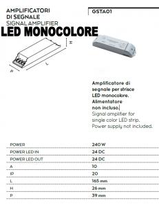 Amplificatore 240w di segnale per strisce led monocolore 24v