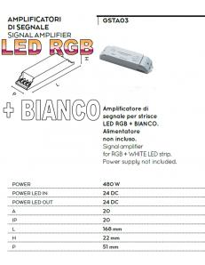 Amplificatore 480w di segnale per strisce led rbg + bianco 24v