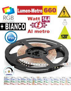 Striscia LED 14,4w RGB + BIANCO bobina 5mt dimmerabile IP20 adesiva flessibile 60 led metro