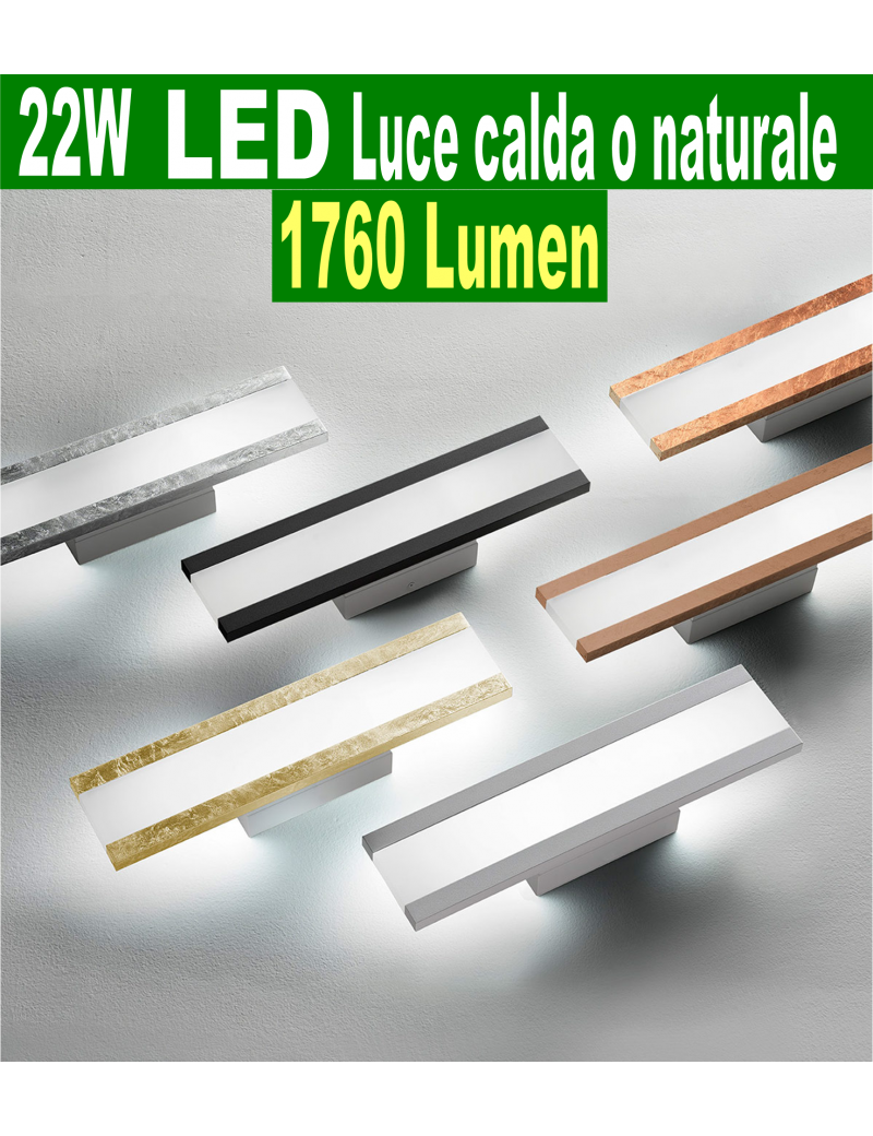 Rail media Applique LED 22watt 1760 lumen 3000k 4000k vari colori