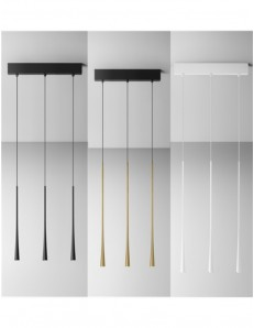 GEA LUCE: Dafne BIG sospensione 3 luci LED 16.5w lampada bianco oro o nero luce calda Gea luce in