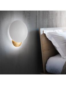 Eclissi applique led 11watt bianco e oro camera rotonda moderna