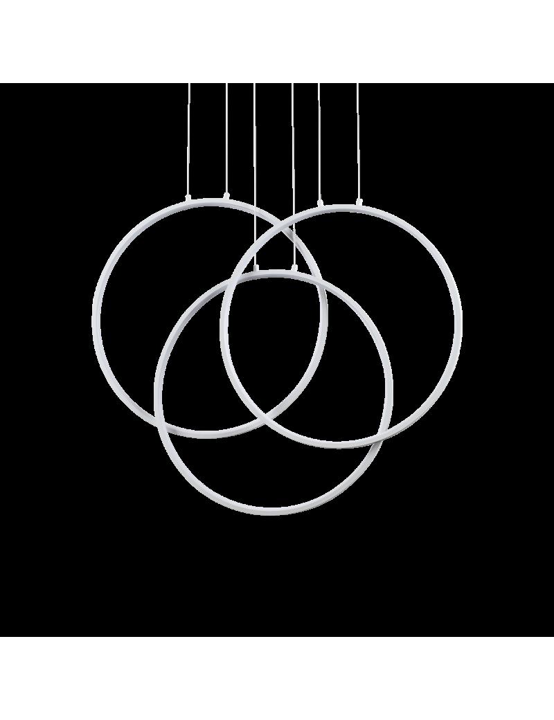 Frame lampadario led 82 watt anelli bianchi regolabili design