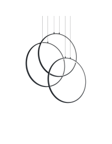 Frame lampadario led 82 watt anelli neri regolabili design