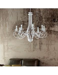 Alma lampadario in ferro laccato bianco con decorazione shabby 8 luci