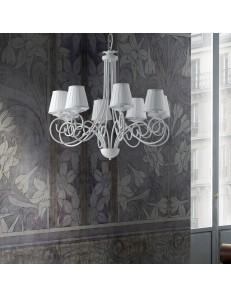 Alma lampadario in ferro laccato bianco con decorazione shabby e paralumi bianchi 8 luci