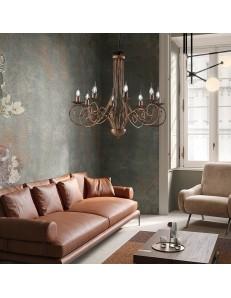 Alma lampadario in ferro laccato nero con decorazione rame 8 luci