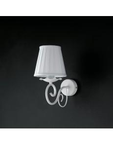 Alma applique in ferro laccato bianco con decorazione shabby e paralume bianco 1 luce